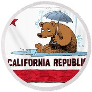 California Rain Round Beach Towel