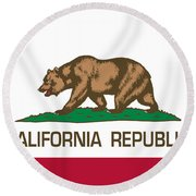California Republic State Flag Authentic Version Round Beach Towel