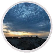 California Rocky Beach Sunset  Round Beach Towel
