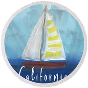 California Sailing- Art By Linda Woods Round Beach Towel