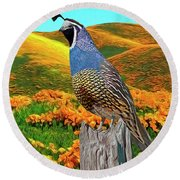 California State Bird And Flower Round Beach Towel