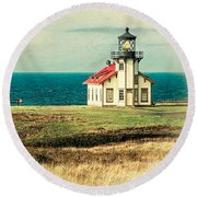 California - State Historic Park Point Cabrillo Round Beach Towel