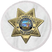 California State Parole Agent Badge Over White Leather Round Beach Towel by Serge Averbukh