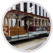 California Street Cable Car Round Beach Towel by Steven Spak