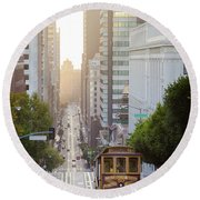 California Street Sunrise Round Beach Towel