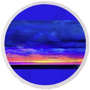 Round Beach Towel featuring the painting California Sunrise by Joan Reese