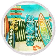 California Surfboards Round Beach Towel by Nina Prommer