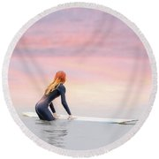 California Surfer Girl II Round Beach Towel