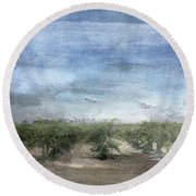 California Vineyard- Art By Linda Woods Round Beach Towel