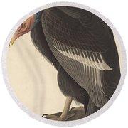Californian Vulture Round Beach Towel by John James Audubon