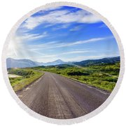 Call Of The Road Round Beach Towel