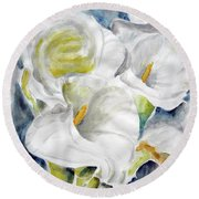 Round Beach Towel featuring the painting Calla by Jasna Dragun