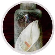 Round Beach Towel featuring the photograph Calla Lily In A Bottle by Phyllis Denton