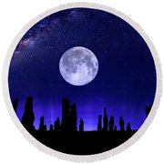 Callanish Stones Under The Supermoon.  Round Beach Towel