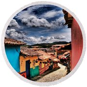 Calle De Colores Round Beach Towel