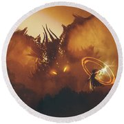 Round Beach Towel featuring the painting Calling Of The Dragon by Tithi Luadthong