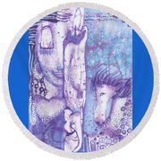 Round Beach Towel featuring the mixed media Calling Upon The Spirit Animals by Prerna Poojara