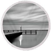 Calm Barnegat Bay New Jersey Black And White Round Beach Towel