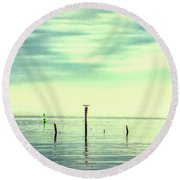 Round Beach Towel featuring the photograph Calm Bayshore Morning N0 1 by Gary Slawsky