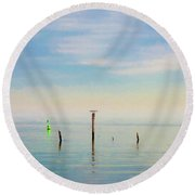 Round Beach Towel featuring the photograph Calm Bayshore Morning N0 2 by Gary Slawsky