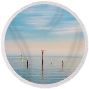 Round Beach Towel featuring the photograph Calm Bayshore Morning N0 3 by Gary Slawsky