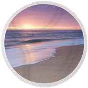 Calm Beach Waves During Sunset Round Beach Towel