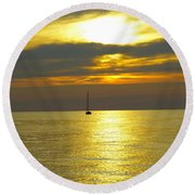 Calm Before Sunset Over Lake Erie Round Beach Towel by Donald C Morgan