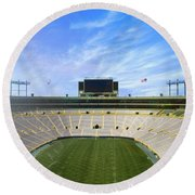 Round Beach Towel featuring the photograph Calm Before The Game by Joel Witmeyer