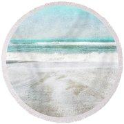 Calm Coast- Art By Linda Woods Round Beach Towel