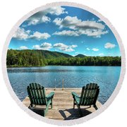 Calm In The Adirondacks Round Beach Towel