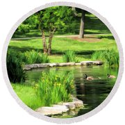 Round Beach Towel featuring the painting Calm Lake Ellyn by Christopher Arndt