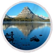 Round Beach Towel featuring the photograph Calm Morning At 2 Medicine by Adam Jewell