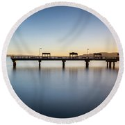 Calm Morning At The Pier Round Beach Towel
