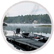 Calm Morning On Little Sebago Lake Round Beach Towel