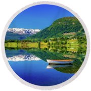 Round Beach Towel featuring the photograph Calm Morning On Lonavatnet by Dmytro Korol