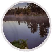 Round Beach Towel featuring the photograph Calm Morning by Steven Reed