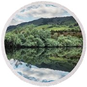 Calm Pond - Cloud Reflections II Round Beach Towel