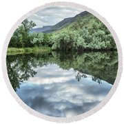 Calm Pond - Cloud Reflections Round Beach Towel