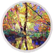Calm Reflection Round Beach Towel