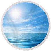 Calm Seascape Round Beach Towel by Carlos Caetano