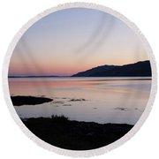 Calm Sunset Loch Scridain Round Beach Towel