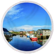 Calm Water At Peggys Cove Round Beach Towel by Ken Morris