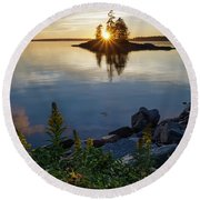 Round Beach Towel featuring the photograph Calm Water At Sunset, Harpswell, Maine -99056-99058 by John Bald