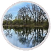 Calm Waters At Wayne Woods Round Beach Towel