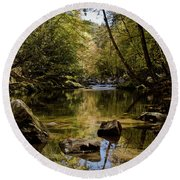 Round Beach Towel featuring the photograph Calmer Water by Douglas Stucky