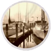 Round Beach Towel featuring the photograph Calmly Docked by Brian Wallace