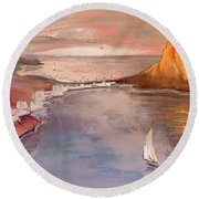 Calpe At Sunset Round Beach Towel