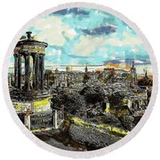 Calton Hill Edinburgh Round Beach Towel