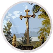 Round Beach Towel featuring the photograph Calvary Group - Parkstein by Juergen Weiss