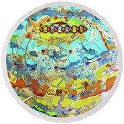 Round Beach Towel featuring the painting Calypso by Desiree Paquette